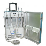 Dentist Portable Dental Delivery Unit Cart with Air Compressor Suitcase and 4 Holder 2 Years Guarantee GU-P204