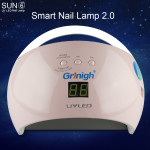 Grinigh SUN6 48W Nail Dryer New Style Portable UV Lamp For Drying Unique Low Heat Model Double Power Fast Manicure Colorful Lamp -EU Plugs ( UVS6PKB )